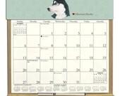 2016 CALENDAR - Siberian Husky Dog Wooden  Calendar Holder filled with a 2016 calendar & an order form page for 2017.