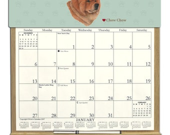 2018 CALENDAR - Chow Chow Dog Wooden  Calendar Holder filled with a 2018 calendar & an order form page for 2019.
