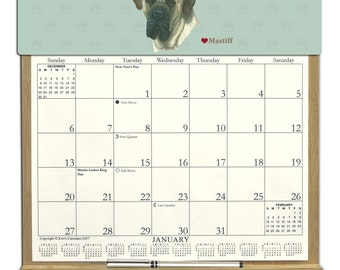 2018 CALENDAR - Mastiff Dog Wooden  Calendar Holder filled with a 2018 calendar & an order form page for 2019.