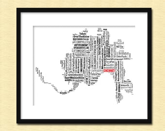 Cincinnati Map Typography Map Poster Print