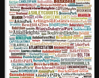 Atlanta Map - Typography Neighborhoods of Atlanta Poster Print