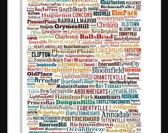 Staten Island Map - Typography Neighborhoods of Staten Island Poster Print