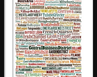 New Orleans Map - Typography Neighborhoods of New Orleans Poster Print
