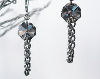 Octagon Pewter Glass Chain Drop Earrings - Dangle