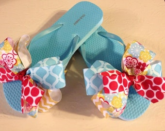 Custom Flip Flops with Turquoise, Red & Floral Boutique Bows