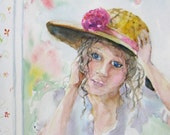 girl in hat impressionism original portrait watercolor painting 8 x 10 victorian fine art - JaniceTraneJones