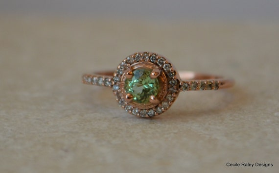 Rose Gold Halo Ring With Merelani Mint Garnet and Diamonds - Introductory Price
