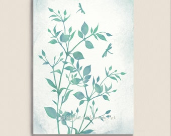 Blue Green Watercolor Print, Botanical Art Print 5 X 7, Dragonfly Wall Decor ,