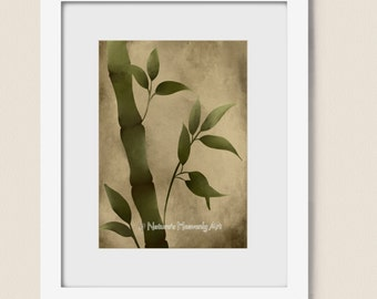 Brown Nature Inspired Bamboo Art Print 5 x 7, Green Home Decor, Earthy Colors, Asian Wall Art, Grass