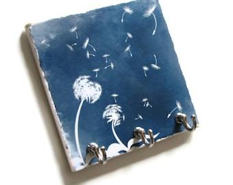 Blue Dandelion Art Key Hook Hanger, Decorative Tile Key Rack, Wall Home Organizer Key Holder, Wall Decor