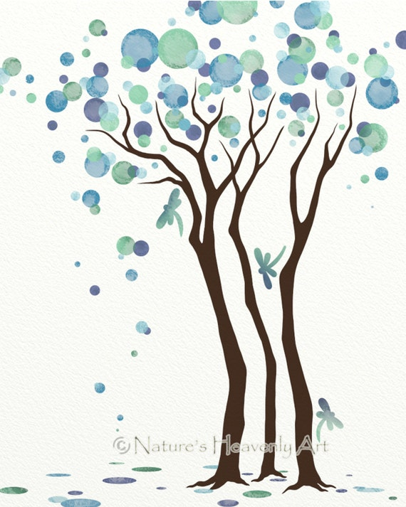 Dragonfly Wall Art dragonfly wall art watercolor tree art print 8 x 10 blue