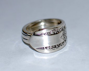 Silverplate Spoon Ring, Vintage Original Rogers Reflection Design, Custom Stamping or Engraving Available