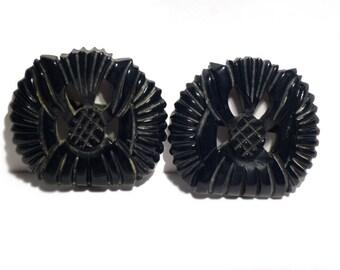 Vintage Carved Navy Blue Belt Buckle. Galalith / Plastic
