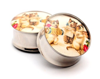 Vintage Musical Cats Picture Plugs gauges - 1 1/8, 1 1/4, 1 3/8, 1 1/2 inch