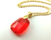 Red Crystal Pendant Necklace Gold Jewelry Red Necklace Gold Necklace Large Pendant Metal