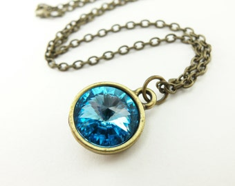 Aqua Crystal Necklace March Birthstone Jewelry Antiqued Brass Necklace Aqua Crystal Pendant