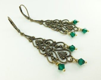 Long Emerald Chandelier Earrings Antiqued Brass Filigree Green Earrings Leverback Victorian Style