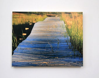Boardwalk to Beach, Nautical Art, Tidal Marsh, Landscape, 11X14 Wood Panel, Fine Art Photography, Wall Hanging, Ready to Hang