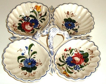 VINTAGE ITALIAN 4-bowl CERAMIC condiment serving dish, hand painted flowers, red yellow blue green
