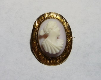 Victorian 10K Gold Carved Shell Cameo Brooch on Etsy