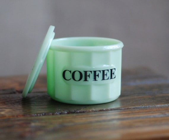 Vintage Jadeite Small Coffee Canister With Jadeite Lid