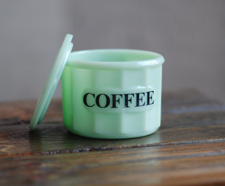 Vintage Jadeite Small Coffee Canister With Jadeite Lid