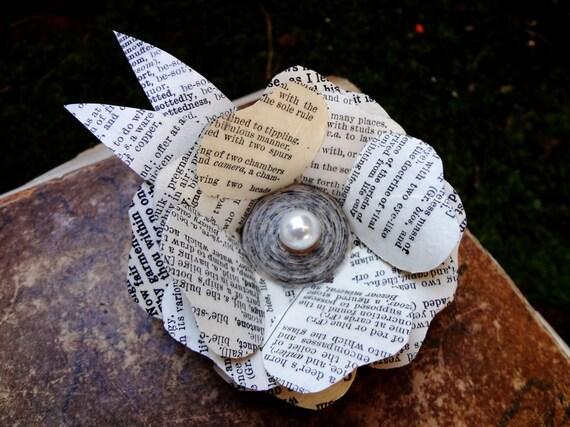 Flower brooch, Book Brooch, recycled book, paper flower, pearl rose