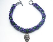 Sugar skull bracelet, Gothic chainmaille jewelry, Day of the Dead, Dia de los Muertos, Purple and green byzantine weave