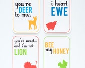 Printable PDF - I Love Ewe Animal Valentines