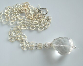Rock crystal quartz and silver chunky necklace