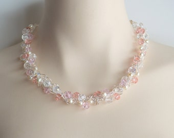 Pearl and pink crystal wire crochet necklace, wedding necklace