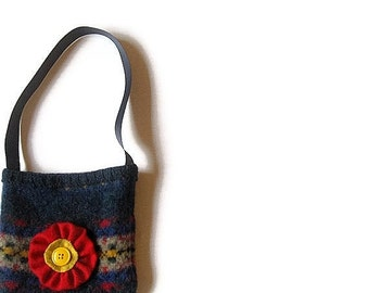 Small bag felted navy blue red flower upcycled sweater bag