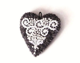 Wool pendant/ heart white on gray felted knit