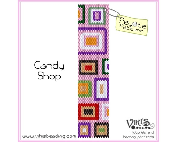 Peyote Stitch Pattern: Candy Shop - for cuff bracelet - INSTANT DOWNLOAD pdf - Special savings with coupon codes