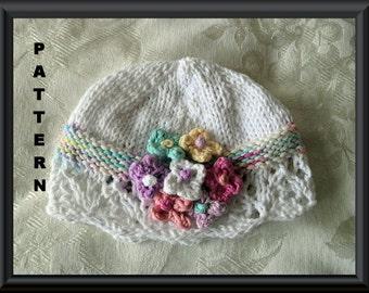 Baby Hat Pattern Knitted Hat Pattern Newborn Hat Pattern Infant Hat Pattern Baby cloche Pattern Baby Hat with Flower: WILD FLOWERS CLOCHE