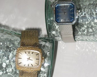 Pair of Vintage Timex Ladies Watches Square Goldtone Womens Watch Square Silvertone Womans Watch Mesh Slider Band AS IS One does not work
