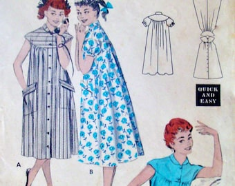 50s Vintage Morning Coat Sewing Pattern Butterick 7139, Belted Dress, Bust 32 Size 14