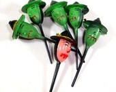 Vintage Witch Cupcake Picks, Toppers, Cake Decorating, Food Craft Baking Supplies, Halloween Party Decor, Green Witch Head Picks  (296-13)