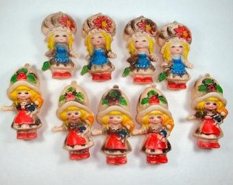 Vintage Christmas Tree Light Covers, Set of Nine, Girl, Big Bonnet. Mid Century, Kitschy, Retro Holiday Decor, Decorations    (225-13)