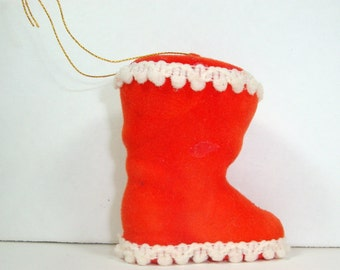 Vintage Red Flocked Boot Christmas Ornament, Red and White, Holiday Decor