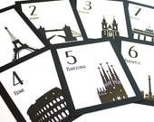 Travel Table Number Wedding Decor International World Globetrotter Cities Landmarks Bar Mitzvah Special Event