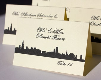 Chicago Place Escort Card Wedding Skyline Black White Handmade Bridal Custom Personalize Other Cities Available