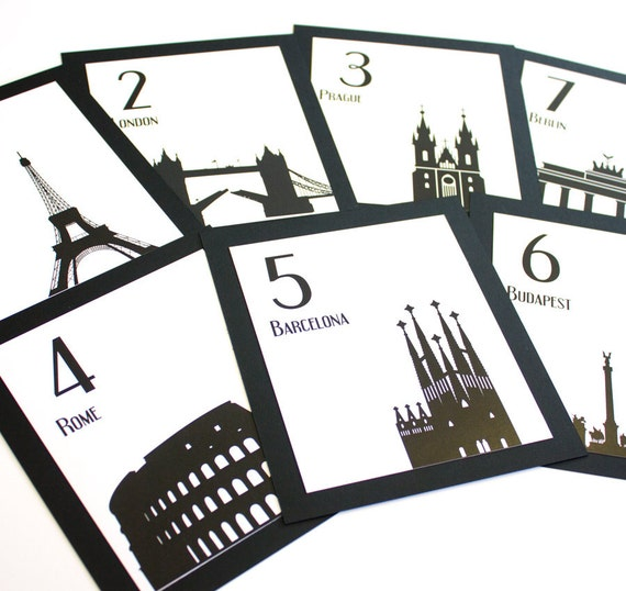 CUSTOM for Caroline Travel Wedding Table Numbers
