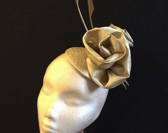 Gold silk rose button - Beautiful gold silk dupion hat with handmade gold roses, perfect for a wedding or the races