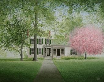 "Custom HOUSE PORTRAIT Home Painting  14 x 18""  Large Original Cotton Anniversary Gift Husband Fine Art Christmas Folk Art Country Primitive"