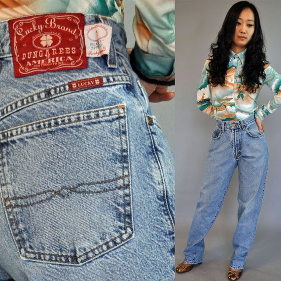 Vintage 80s HIGH waisted JEANS / Distressed Faded Blue Jeans /