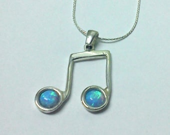 music notes opal silver necklace pure beauty