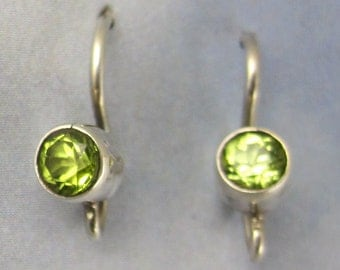 Sterling Silver Earwires Faceted Peridot Stones Gemstone Jewelry Supplies A-55