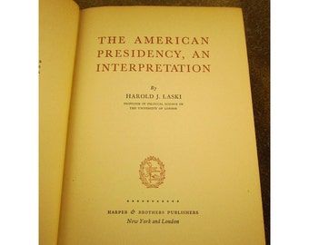 The American Presidency Hardcover Vintage Book by Harold J. Laski - First Edition