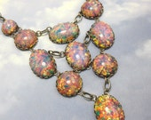 Fire Opal Necklace Iridescent Pink Harlequin Vintage Glass in Silver